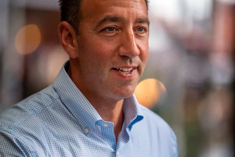Pennsylvania Republican Senate candidate Jeff Bartos at the Italian Market in Philadelphia on July 22 during a statewide bus tour.
