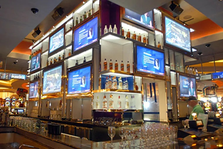 The 20-screen sports bar at the brand new Parx casino in Bensalem. (Ron Tarver / Staff Photographer)