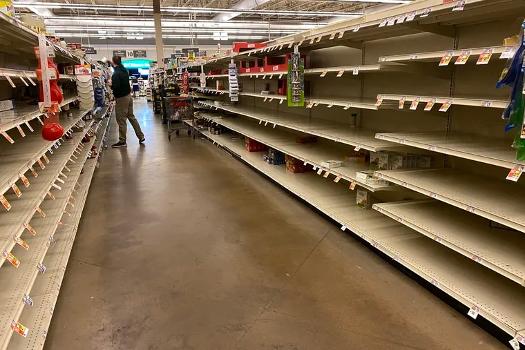 The mostly empty pasta  isle at the Giant grocery store located in Havertown, Pa. as seen around 4 a.m. Saturday, March 14, 2020. Area residents are stocking up due to more people isolating themselves at home during coronavirus scare.