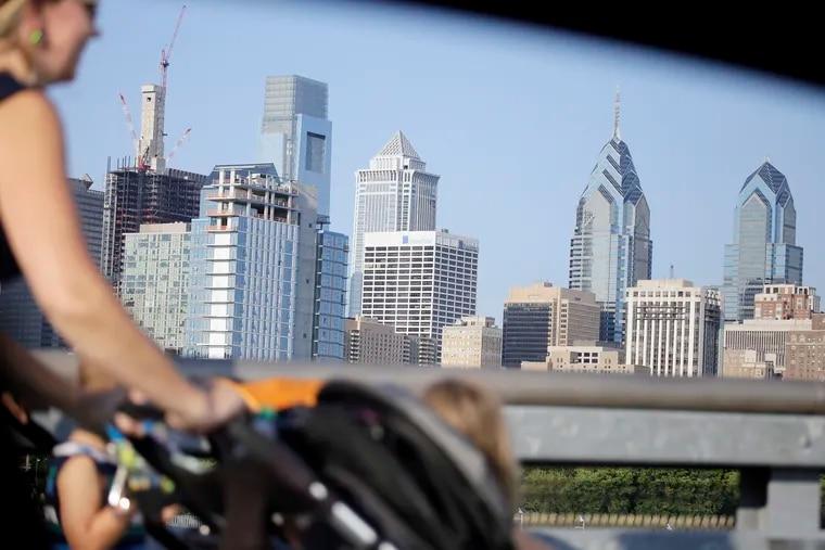 Philadelphia skyline taken from South Street Bridge