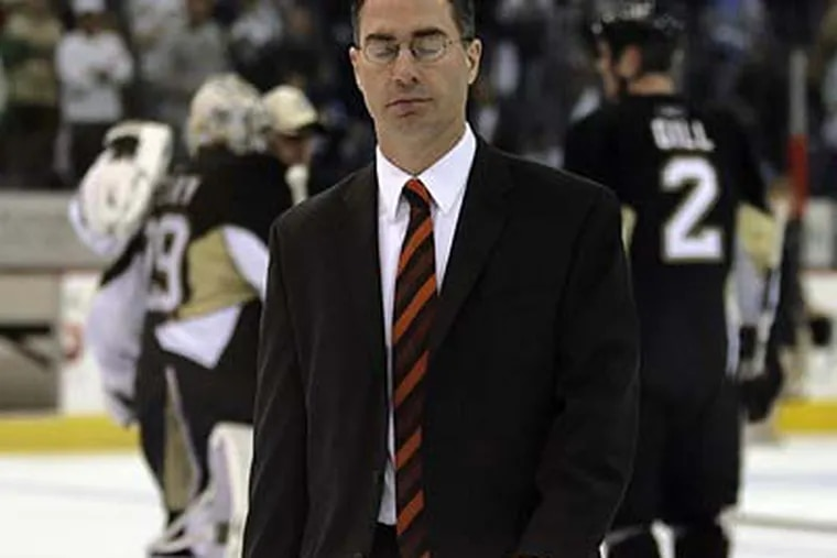 """""""Was I surprised? Yes,"""" now-former Flyers coach John Stevens said of his dismissal. (Yong Kim/Staff file photo)"""