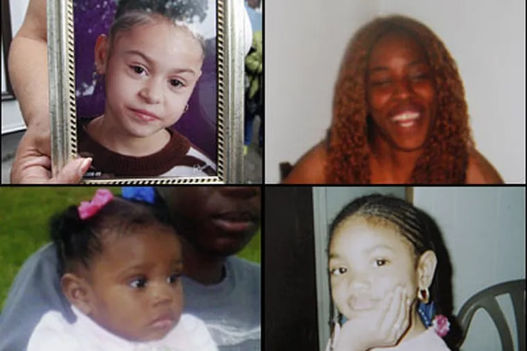 Victims of the Feltonville crash, from upper left: Gina Marie Rosario, 7; Latoya Smith, 22; Remedy Smith, 1; and Aaliyah Griffin, 6.