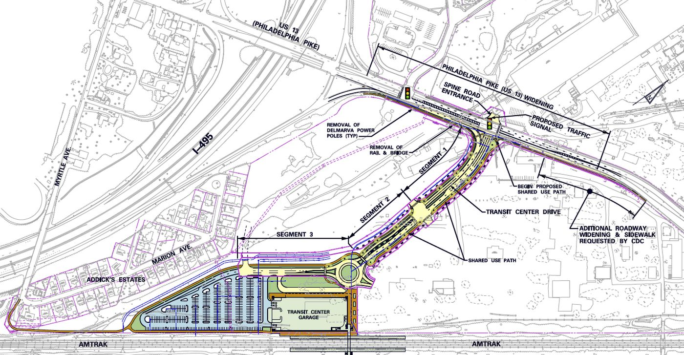 Plans for the new Claymont Transportation Center on the Philadelphia-Wilmington-Newark Septa train line