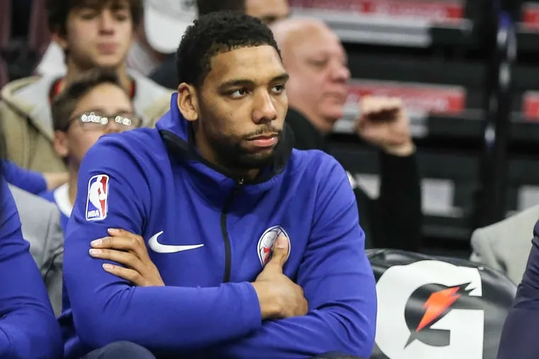 The Sixers' Jahlil Okafor sits on the bench watching his team play the Hawks at the Wells Fargo Center on Wednesday, November 1, 2017.