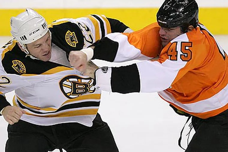 Jody Shelley (right) will be suspended for the next two games. (Yong Kim/Staff file photo)