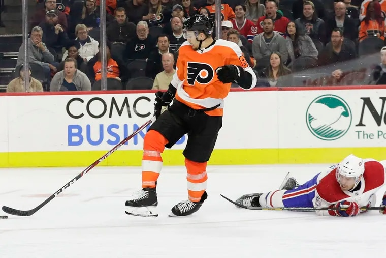 Flyers winger Carsen Twarynski, left, was hooked on a third-period breakaway by Montreal Canadiens defenseman Shea Weber in this game early in the 2019-20 season. Twarynski was awarded a penalty shot and missed.