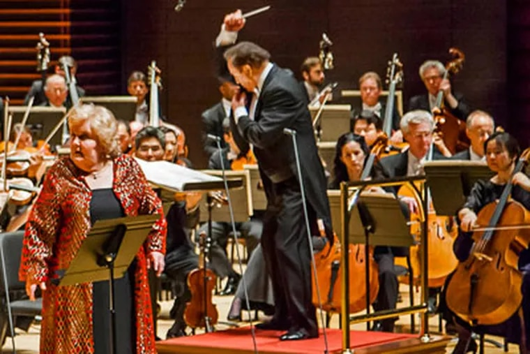 """Orchestra performing """"Elektra,"""" with conductor Charles Dutoit, singers Eva Johansson and Jane Henschel. RYAN DONNELL / Philadelphia Orchestra"""