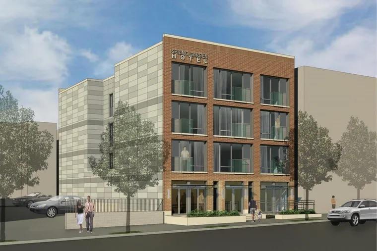 Artist's rendering of hotel planned for 2225 Spring Garden St.