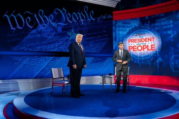 President Donald Trump and ABC News anchor George Stephanopoulos arrive for a town hall at the National Constitution Center, Tuesday, Sept. 15, 2020, in Philadelphia.