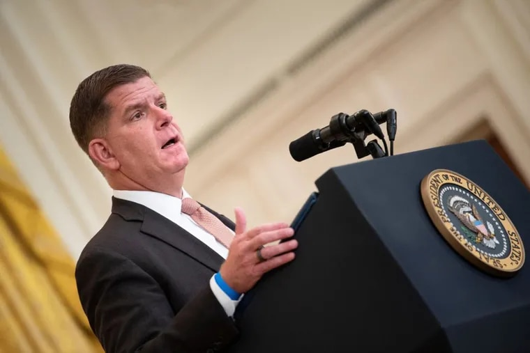 Fear of the coronavirus and its delta variant is still keeping workers on the sidelines of the job market, U.S. Labor Secretary Marty Walsh told The Inquirer.
