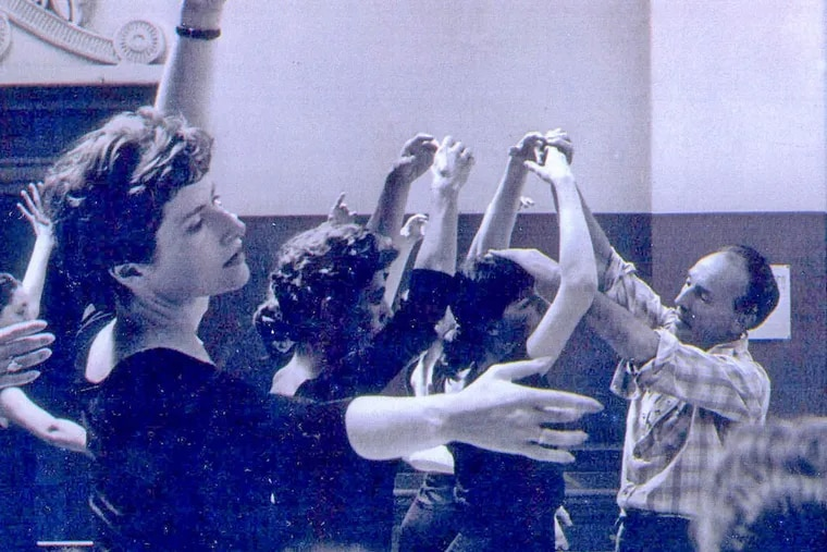 """Barbara Weisberger (left) participating in a class with George Balanchine in 1961. Balanchine encouraged her and other teachers to form ballet companies. (NANCY LASSALLE / """"Balanchine"""" is a trademark of the George Balanchine Trust)"""