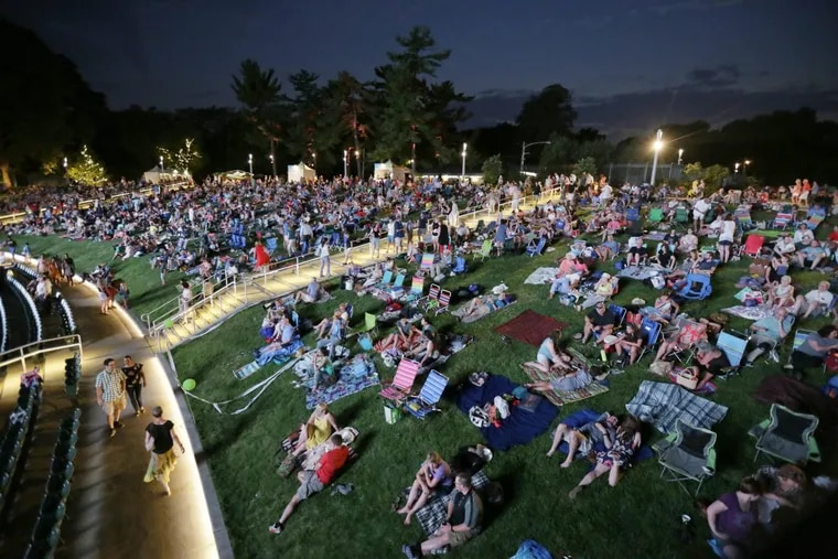 In summer of 2017, the crowd waits for the Tchaikovsky Spectacular with the Philadelphia Orchestra and fireworks at the Mann Center.