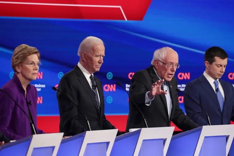 From left, Massachusetts Sen. Elizabeth Warren, former Vice President Joe Biden, Vermont Sen. Bernie Sanders, and former Mayor Pete Buttigieg of South Bend, Ind., during a Democratic presidential debate in January at Drake University in Des Moines, Iowa.