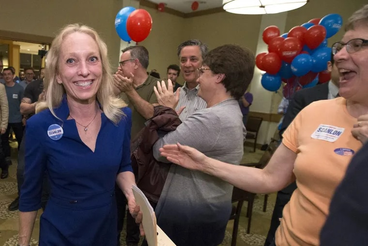 Mary Gay Scanlon, at her victory party in Swarthmore, won the Democratic nomination in Pennsylvania's newly configured Fifth District. Her race is among several which have Democrats encouraged about their fall prospects.