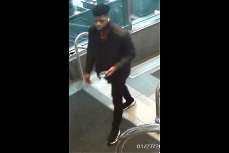 Philadelphia police released this image of a suspect in the theft of a backpack that reportedly contained approximately $500,000 worth of jewelry from the Sofitel Hotel in Center City around 10:30 a.m. Monday, Jan. 27.