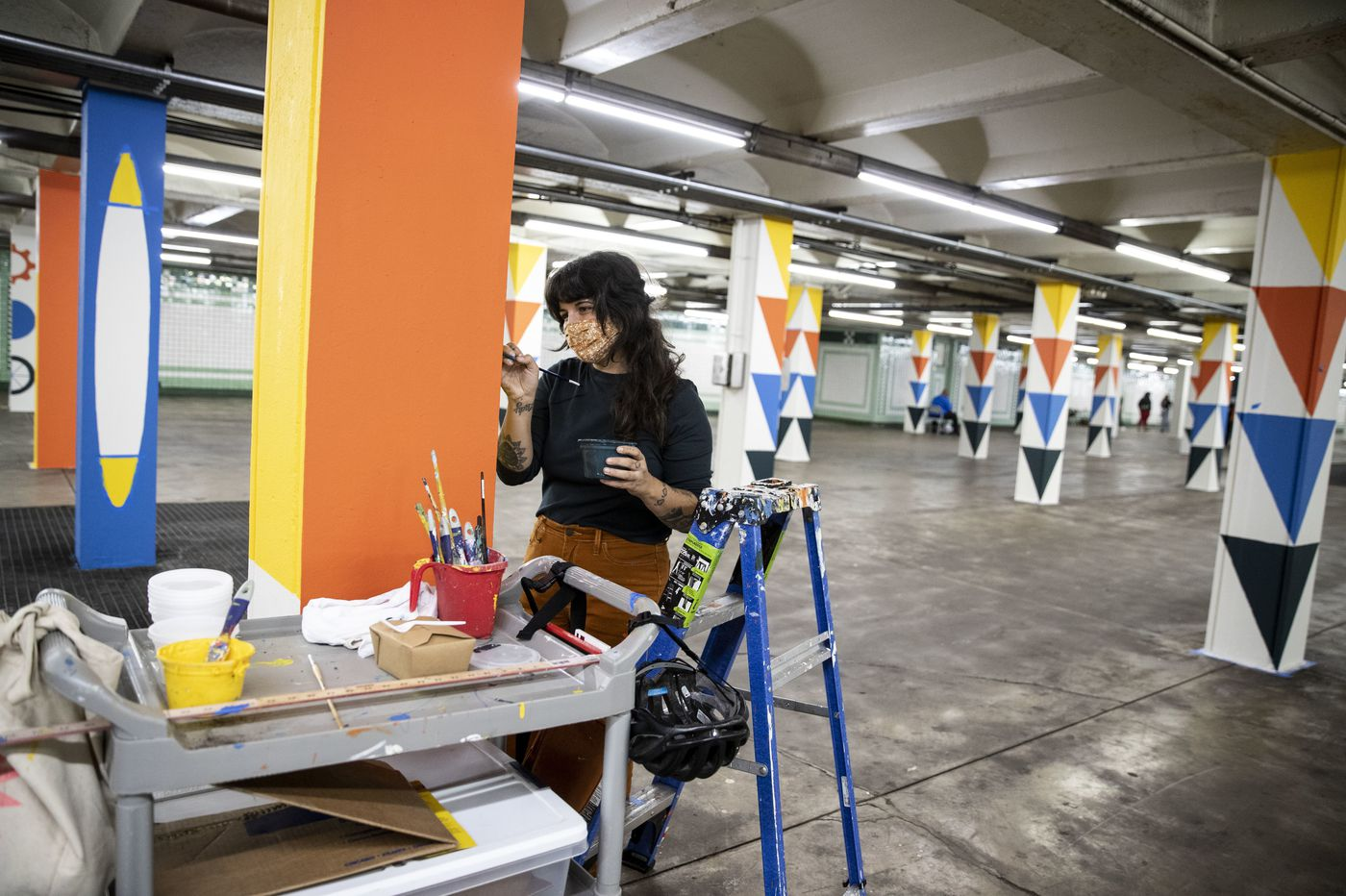 Mural Arts program turns 200 columns in SEPTA concourse into socially distant canvases