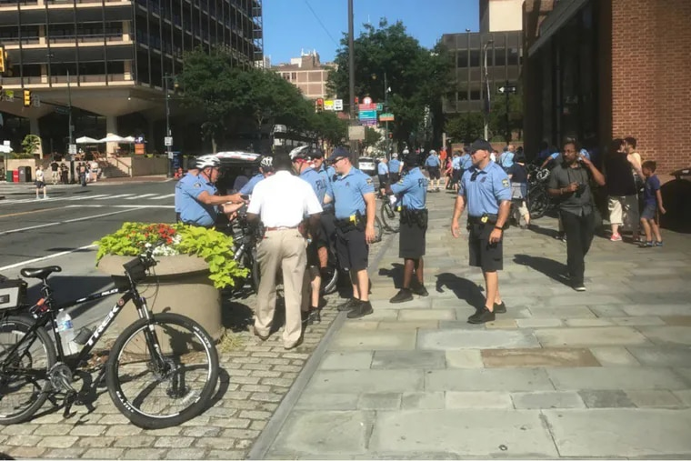 Philly police massing in Independence Park for a Trump impeachment rally and a pro-Trump counter-rally.