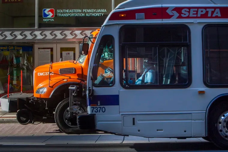 SEPTA vehicles in front of headquarters at 1234 Market St. in Center City Philadelphia.