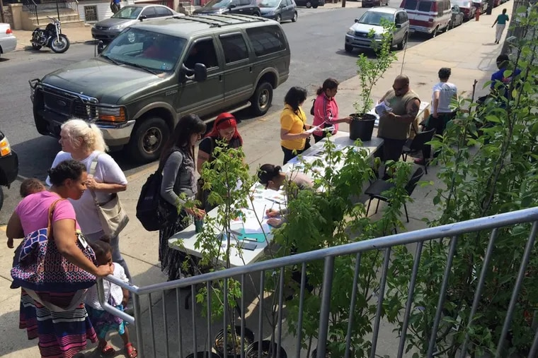 A photo from a 2018 TreePhilly giveaway event.