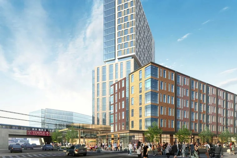 Artist's rendering of proposed North Station District development, as seen from corner of Broad Street and Indiana Avenue.