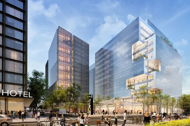 This rendering shows the arrangement of buildings planned for 37th Street in the uCity Square development. The glass building on the right is One uCitySquare.