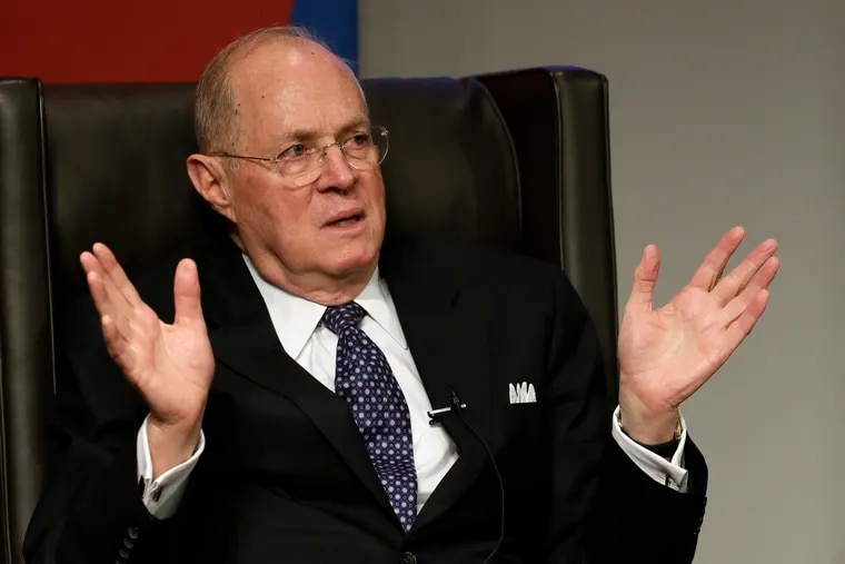 Supreme Court Justice Anthony Kennedy speaks to faculty members at the University of Pennsylvania law school in 2013.