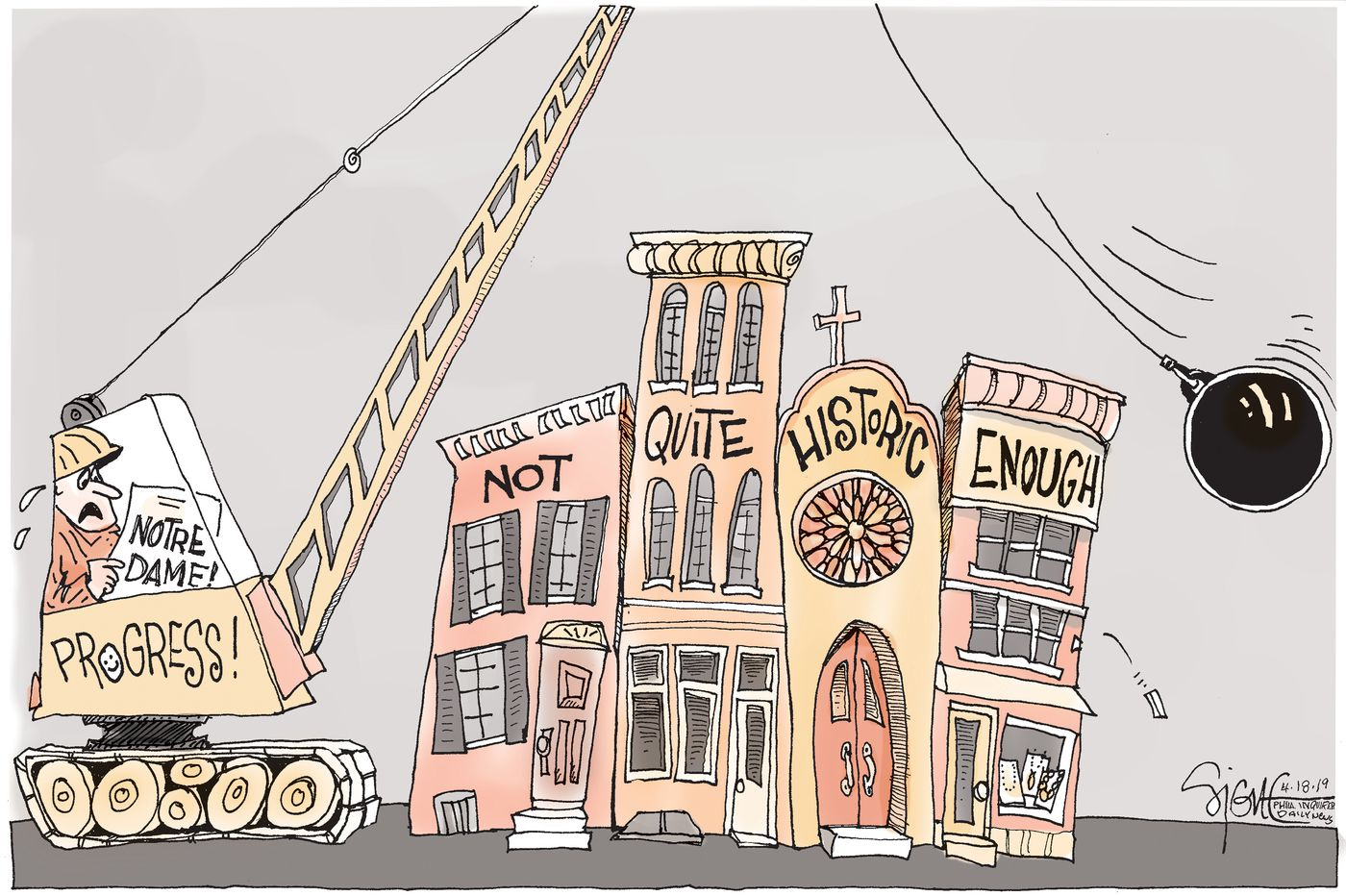 Political Cartoon: Preserving not-quite-Notre Dame buildings
