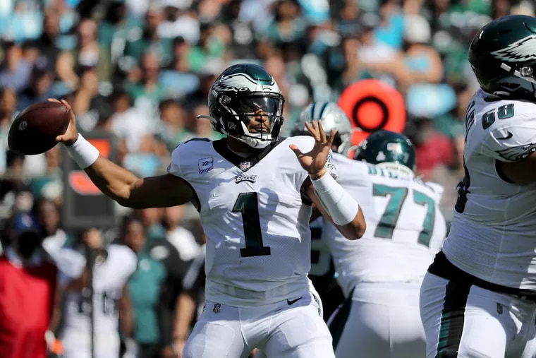 Philadelphia Eagles quarterback Jalen Hurts throws in the first quarter as the Eagles play the Carolina Panthers in Charlotte, N.C. on October 10, 2021.