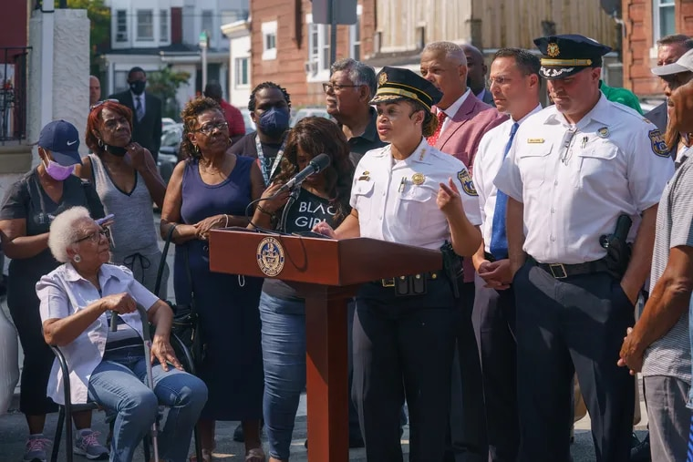 Police Commissioner Danielle Outlaw on the 5400 block of Addison Street at a news conference on Sept. 13. Philadelphia police announced Wednesday they are part of a new partnership with federal officials aimed at combatting gun violence.