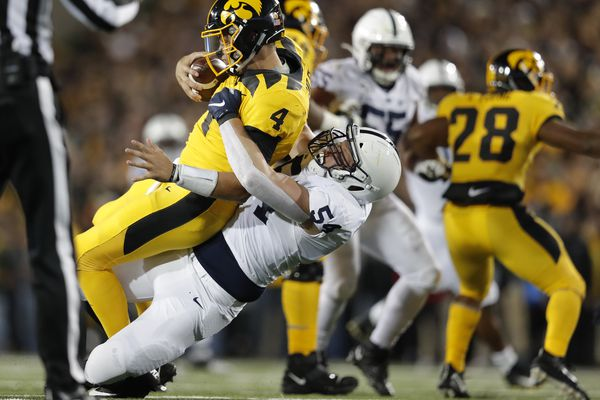 Penn State capitalizes on key second-half turnovers and Noah Cain's running to defeat Iowa, 17-12