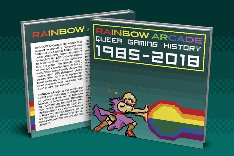 Preliminary cover design for the RAINBOW ARCADE exhibition catalog, designed by Nicolas Simoneau, Schwules Museum Berlin.