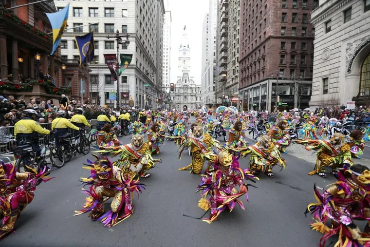 The Satin Slippers perform on Broad Street during the Philadelphia Mummers Day Parade on New Year's Day, January 1, 2016.