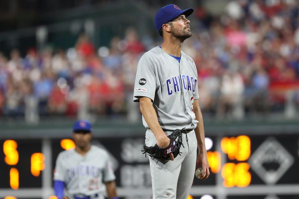 Cole Hamels does not care if he's fined for wearing a David Montgomery patch on his Cubs uniform