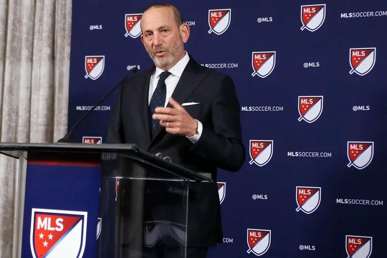 Major League Soccer Commissioner Don Garber at a news conference back in April.