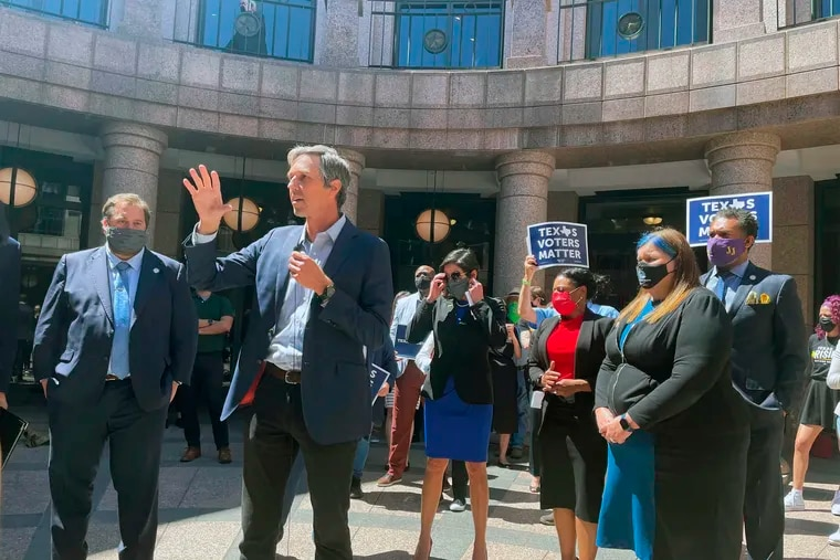 Former Democratic congressman Beto O'Rourke speaks against new proposed voting restrictions at the Texas Capitol last week.