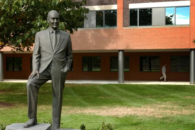 The life size statue of John Bogle, the founder of the Vanguard Group, at the headquarters in Malvern.