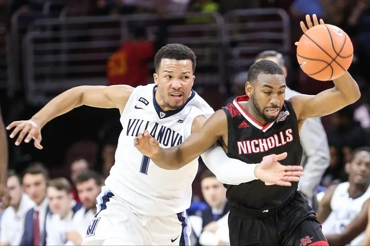 Villanova's Jalen Brunson tries to take the ball from Nicholls State's Lafayette Rutledge during the first half.