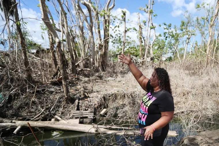 Covalys Roman describes the canal that flooded her property in Florida, Puerto Rico.