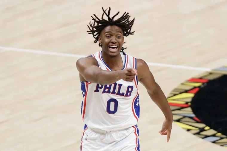 Sixers guard Tyrese Maxey cheers during the team's playoff series against the Atlanta Hawks in June.