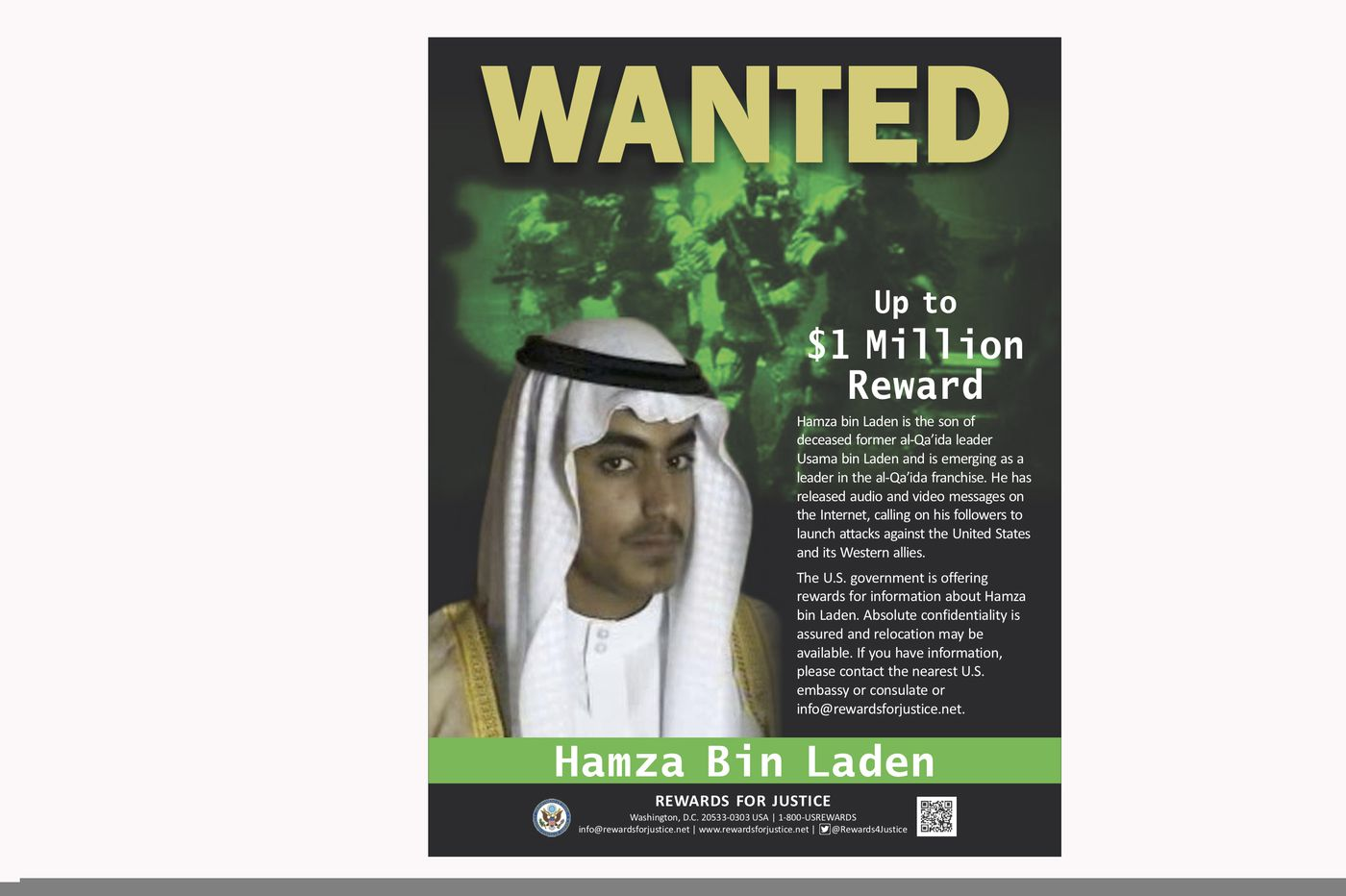 Bin Laden son stripped of Saudi passport as United States offers $1m bounty