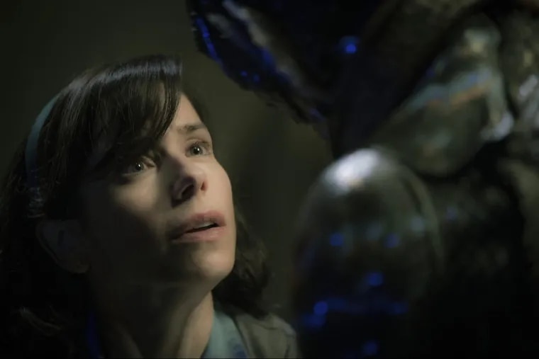"""Sally Hawkins, left, and Doug Jones in a scene from the film """"The Shape of Water."""""""