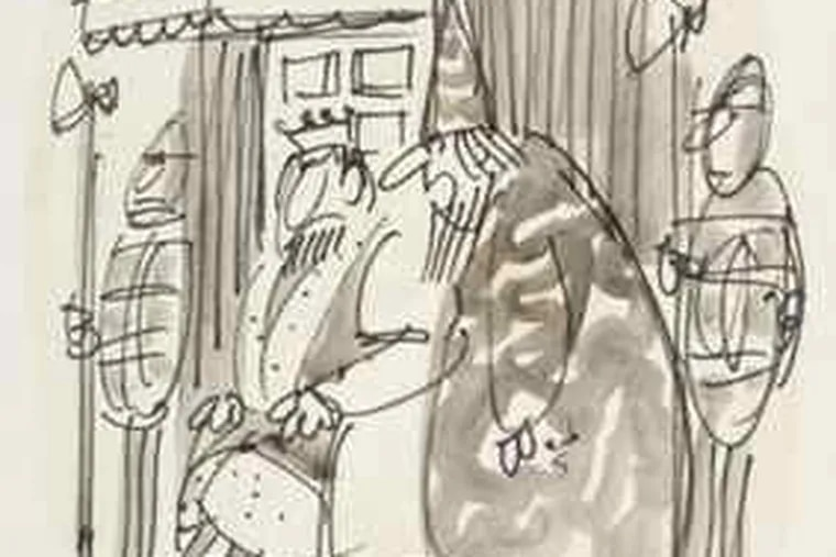 """A Drucker cartoon from the New Yorker. The caption reads: """"Your son just ran away with his secret love - the treasury."""""""