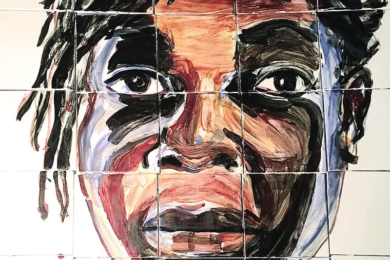 Media-based artist Mary DeWitt's tile mural portrait of Avis Lee, who was 18 when she stood across the street as a lookout for a robbery that turned deadly. Lee was sentenced to life in prison.