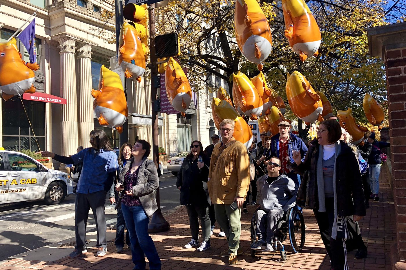 Noted anti-Trump rabble-rouser leads balloon-wielding protesters around Independence Mall