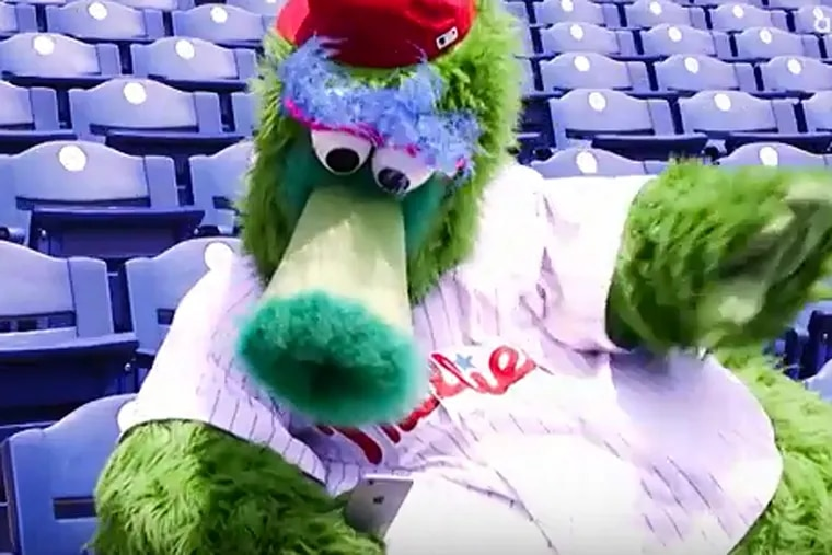 Phillie Phanatic orders a drink from a seat at Citizens Bank Park in a demonstration video from Aramark.