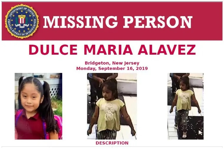 The FBI added Dulce Alavez to its list of high-profile kidnapping and missing-person cases after she disappeared from a Bridgeton, N.J, park.