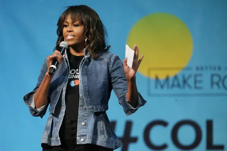 Former First Lady Michelle Obama speaks during the National College Signing Day event at Temple University's Liacouras Center on Wednesday, May 2, 2018. The event featured Obama and a number of other celebrities.
