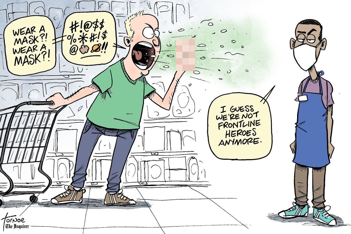 Can we please stop spitting on grocery store workers? | Cartoon