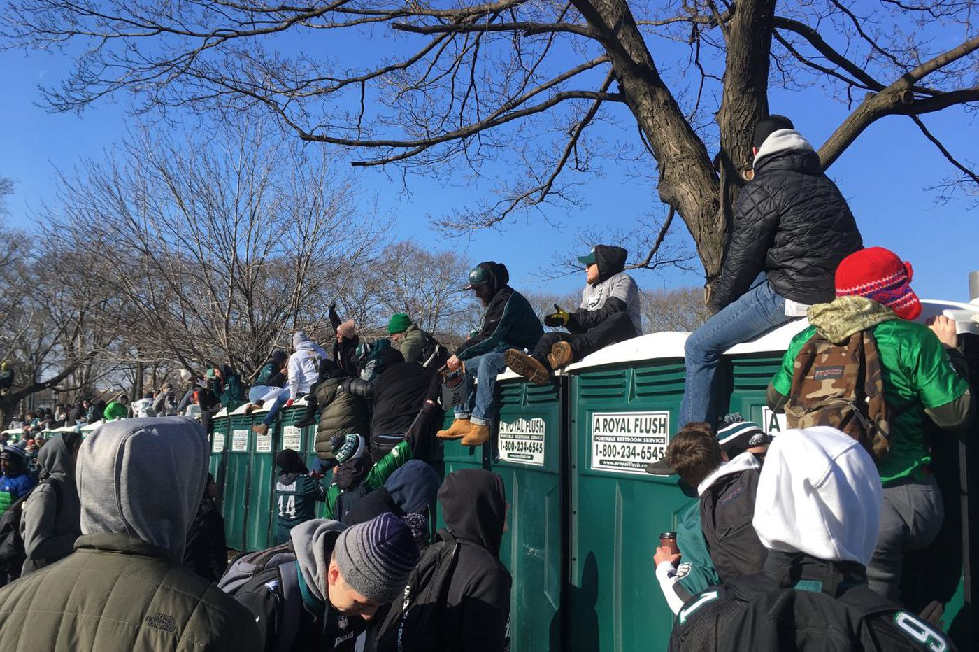 Bathrooms at Eagles parade: Porta potties collapse, coffee cups become urinals