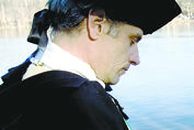 Ronald Rinaldi II as George Washington will be joined by his father and son during the annual crossing. Story, B3.